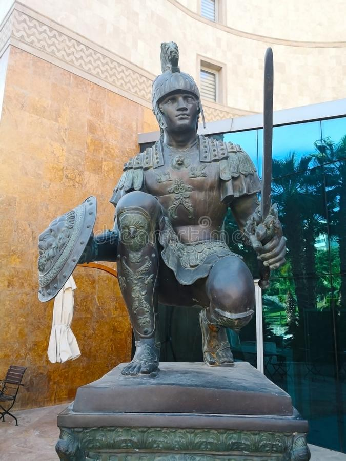 Ancient warrior statue, Turkey-April 1, 2018. Ancient warrior statue as decorations, which is located in front of the hotel in stock photo