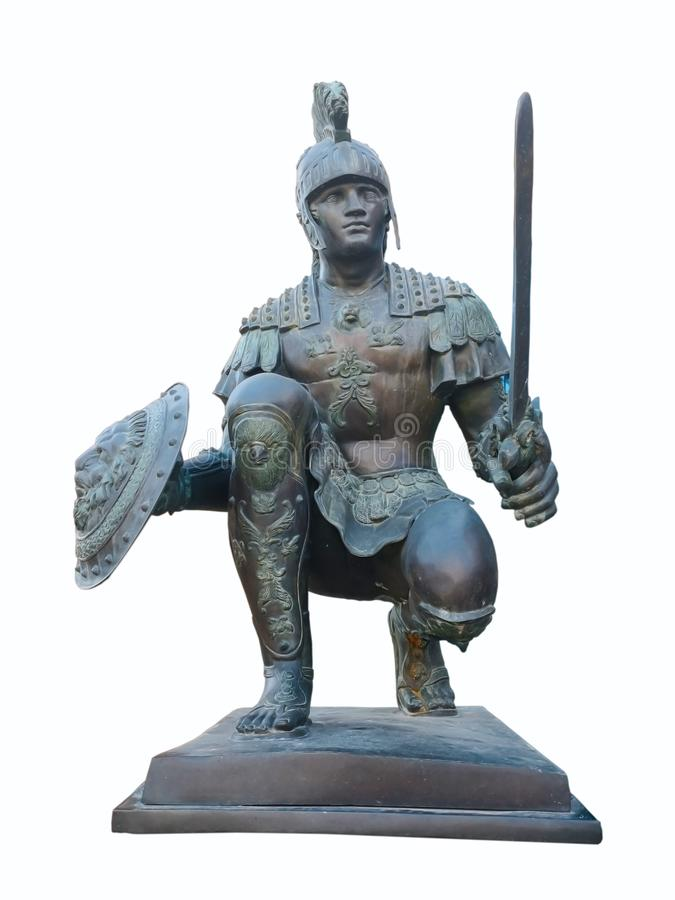 Ancient warrior statue, Turkey-April 1, 2018. Ancient warrior statue as decorations, which is located in front of the hotel in royalty free stock photo