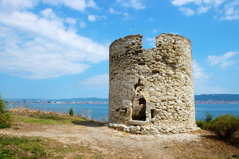 Ancient watchtower in old city of Nessebar royalty free stock photo
