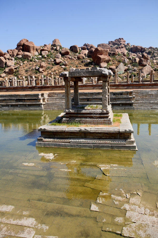 Ancient water pool and temple royalty free stock photos