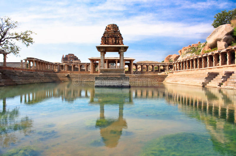 Ancient water pool and temple at Krishna market stock images