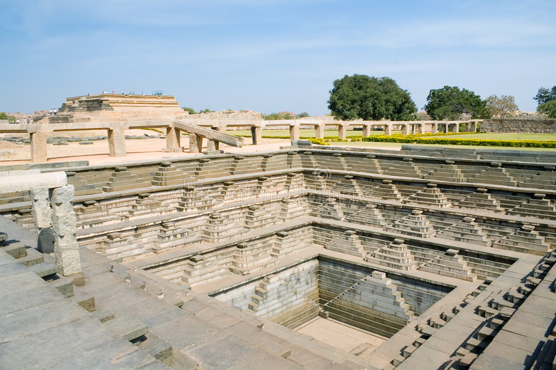 Ancient water reservoir in the Hampi. Karnataka state, India stock photo