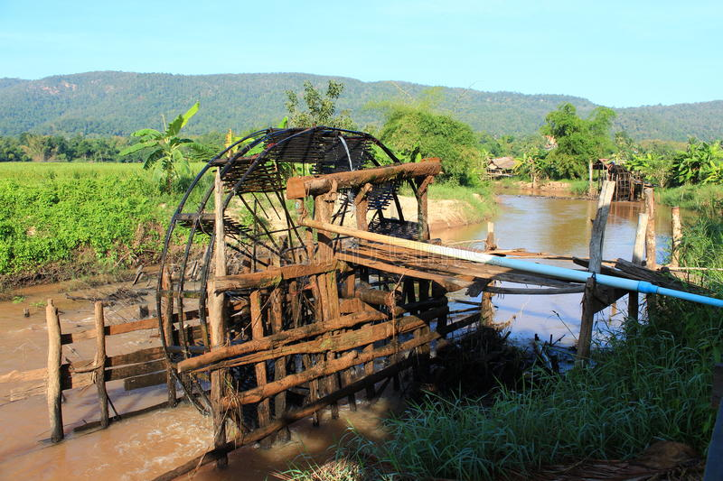Ancient water wheel. In Loei province, Thailand royalty free stock photography