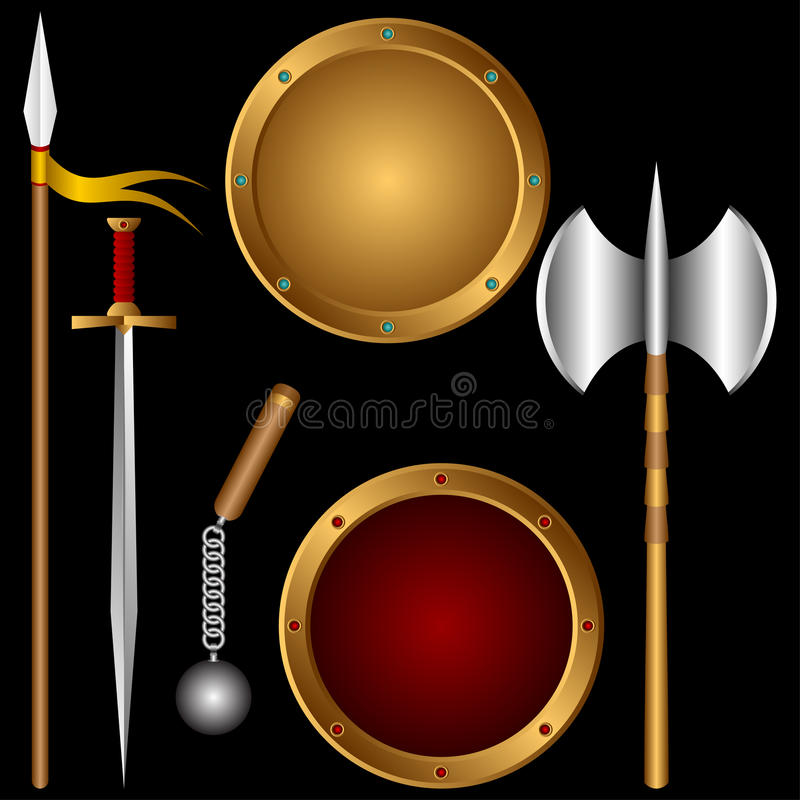 Download Ancient weapons. stock vector. Image of sharp, protection - 20058619