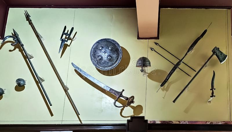 Ancient weapons of 17 century,ludhiana,india on 16 August 2019:rifle and sword,Maharaja Ranjit Singh War Museum established 1999. royalty free stock photography