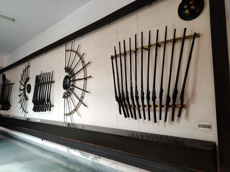 Ancient weapons of 17 century,ludhiana,india on 16 August 2019:rifle and sword,Maharaja Ranjit Singh War Museum established 1999. stock images