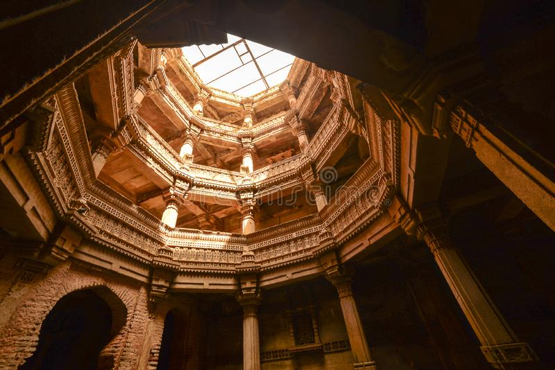 Ancient well in Ahmedabad India, Gujara. T, February 2016 stock photo