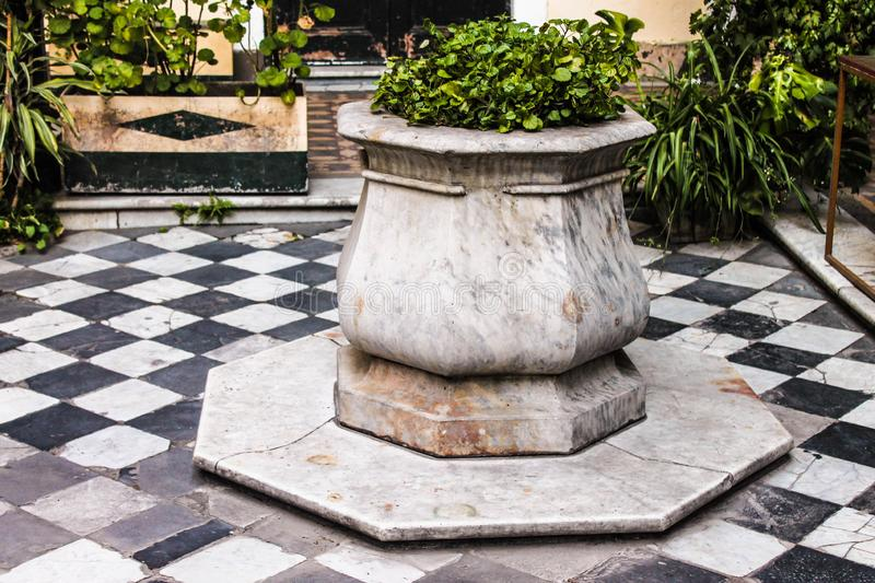 Ancient Well Patio Palace Spanish Courtyard stock image