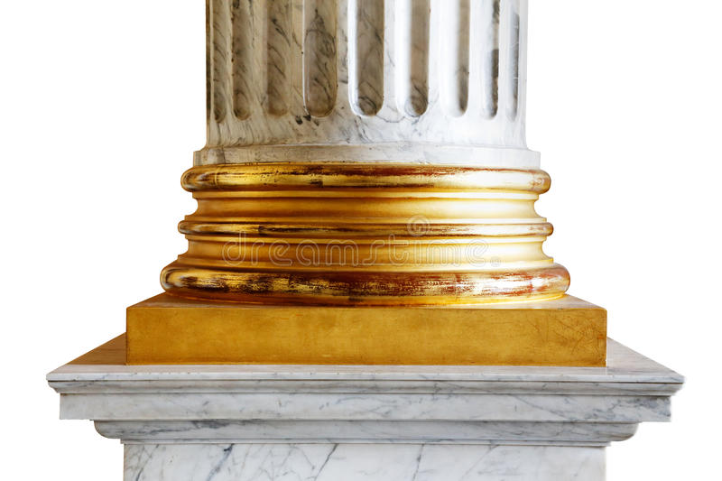 An ancient white marble classical column with gold incrustations. A close-up of an ancient white marble classical column with gold incrustations stock images