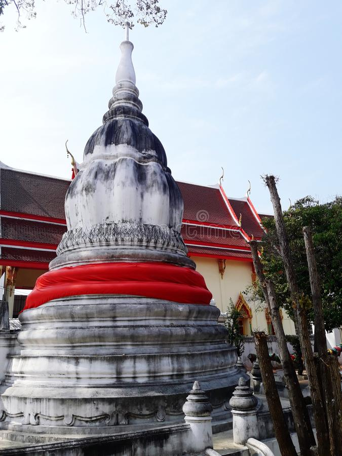 Ancient white pagoda. In Thailand royalty free stock image