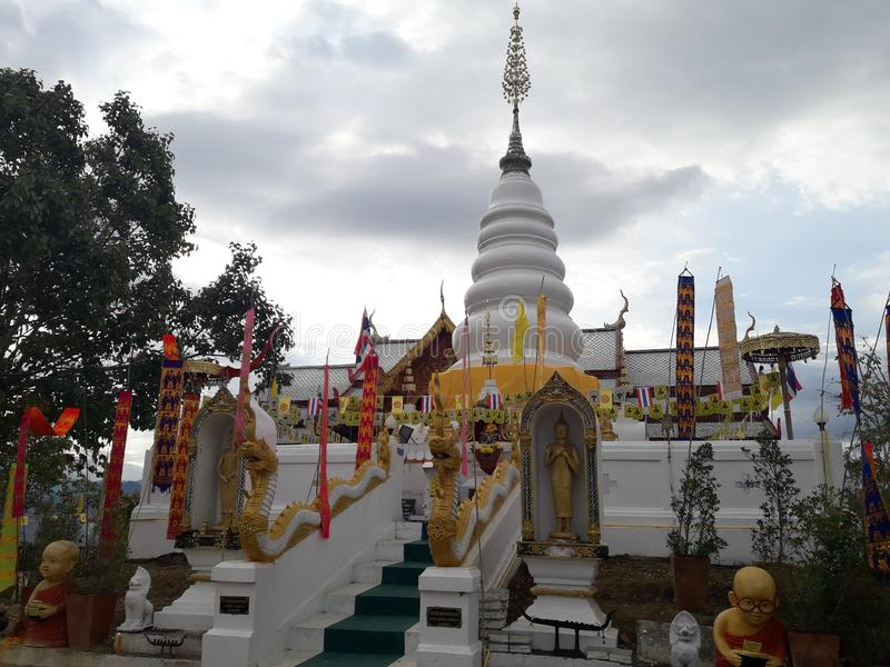 Ancient white pagoda. In Thailand royalty free stock photo
