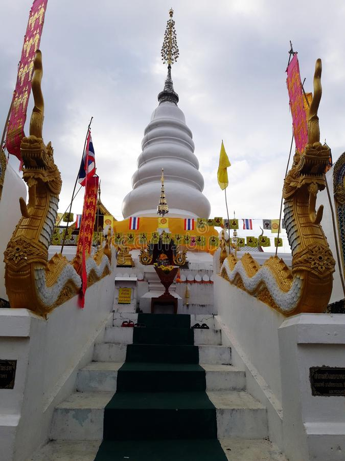 Ancient white pagoda. In Thailand royalty free stock photography