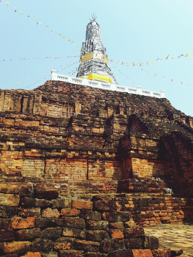 Ancient white pagoda. In Thailand stock photography