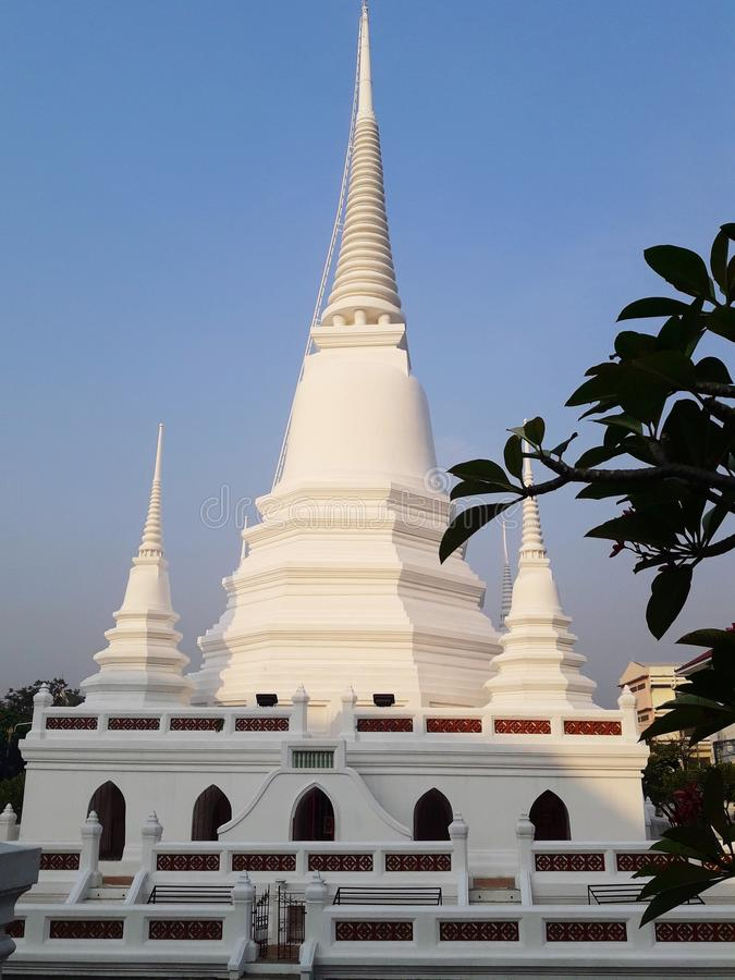Ancient white pagoda. In Thailand stock images