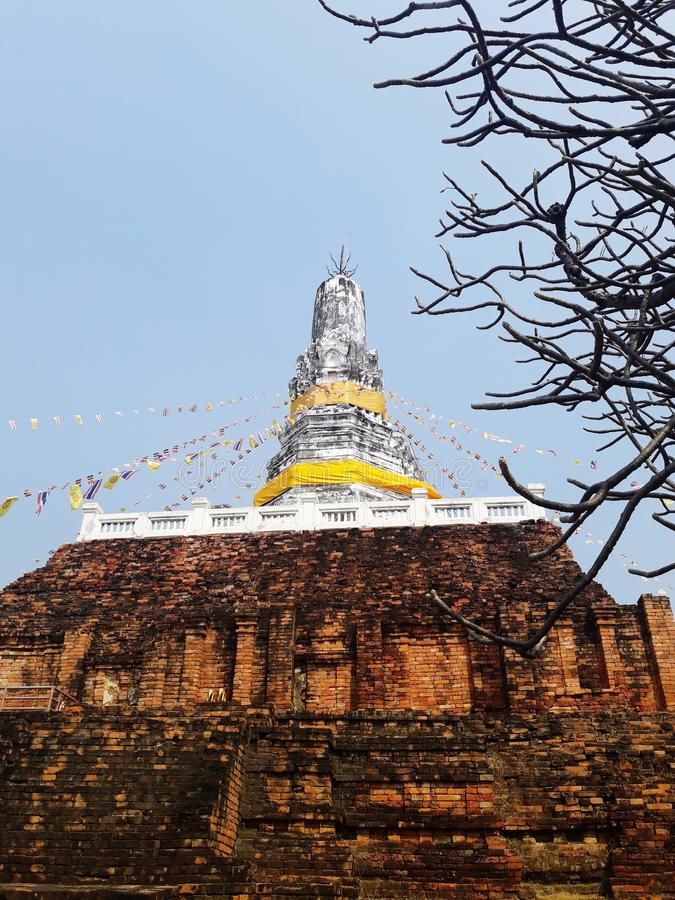 Ancient white pagoda. In Thailand stock photo