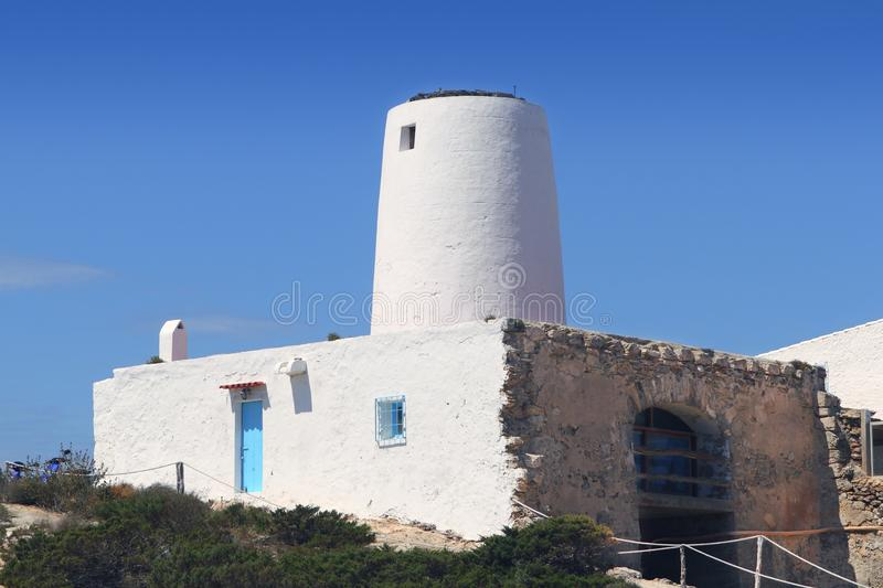 Ancient white salt windmill Formentera royalty free stock photos