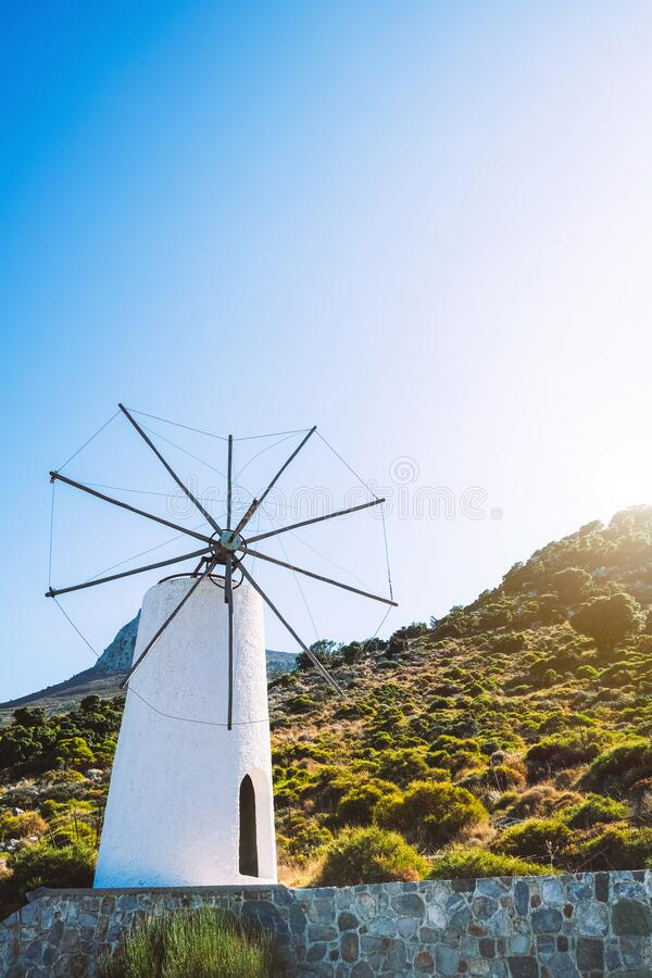 An ancient windmill on the island of Crete. Historical sights of Greece royalty free stock photo