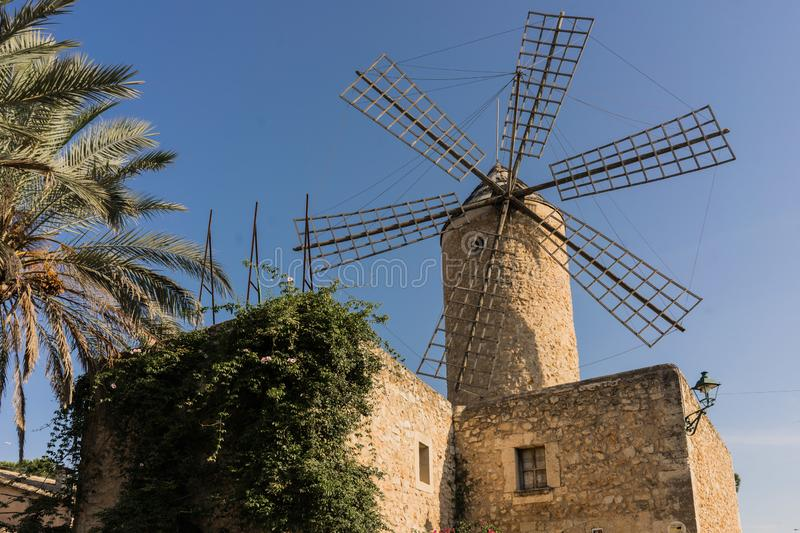 Ancient windmill in Majorca, Spain stock photo