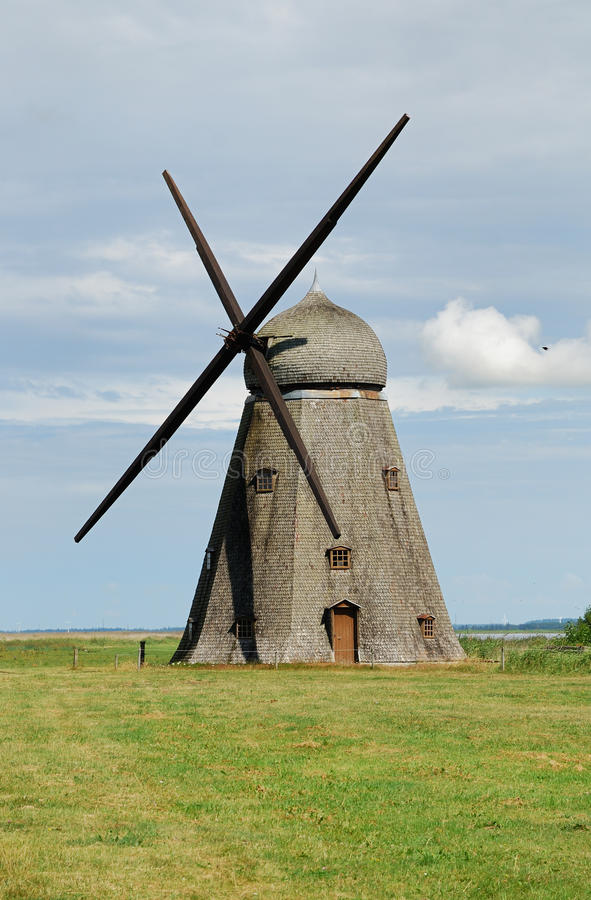 Ancient windmill shingled in Holland.