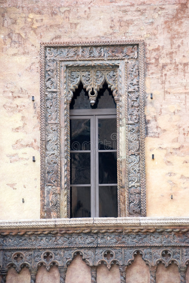 Ancient window. In a italian palace - Mantova - Lombardy stock photography