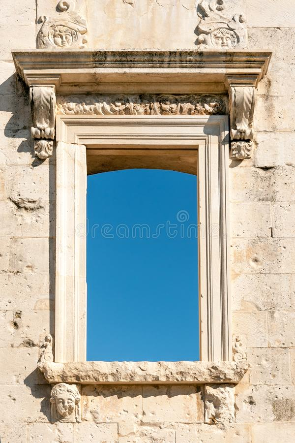Ancient window with blue space stock photos