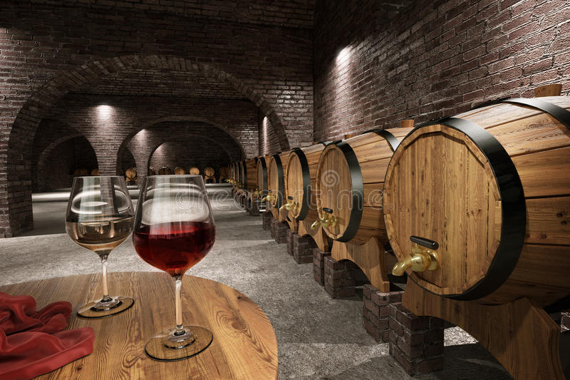 Ancient wine cellar. Interior with wine barrels stock illustration