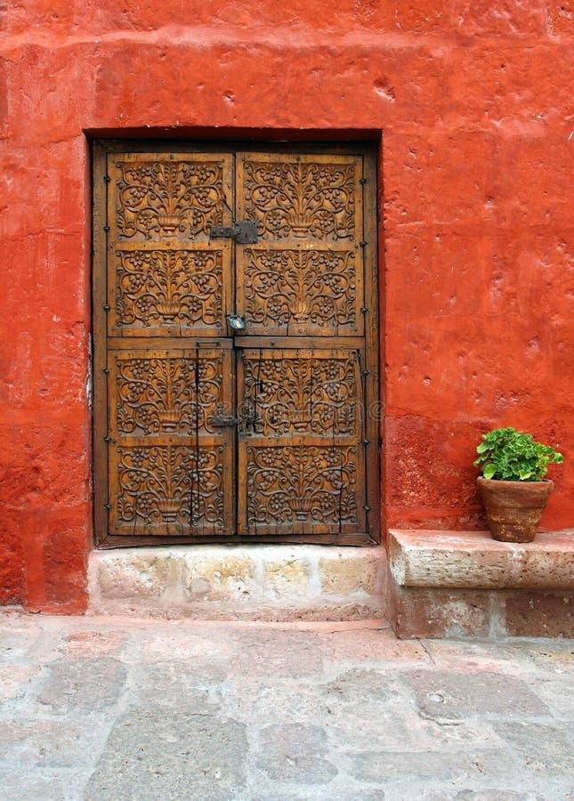 Download Ancient wood door stock image. Image of east, doorknob - 6215421