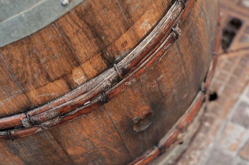 ancient wooden barrel of wine stock photo