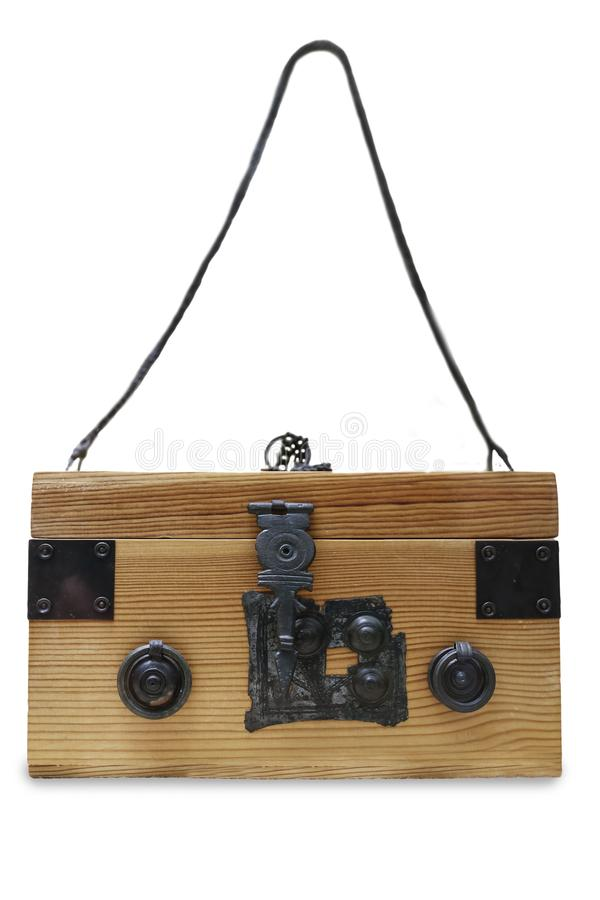 Ancient wooden capsa for personal belongings. Reconstruction over white background royalty free stock photos