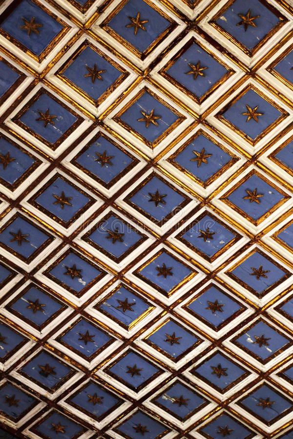 Ancient wooden ceiling, interior of a church. Overall view of the ancient wooden ceiling, from the interior of the church of st margaret in sciacca, sicily royalty free stock photos