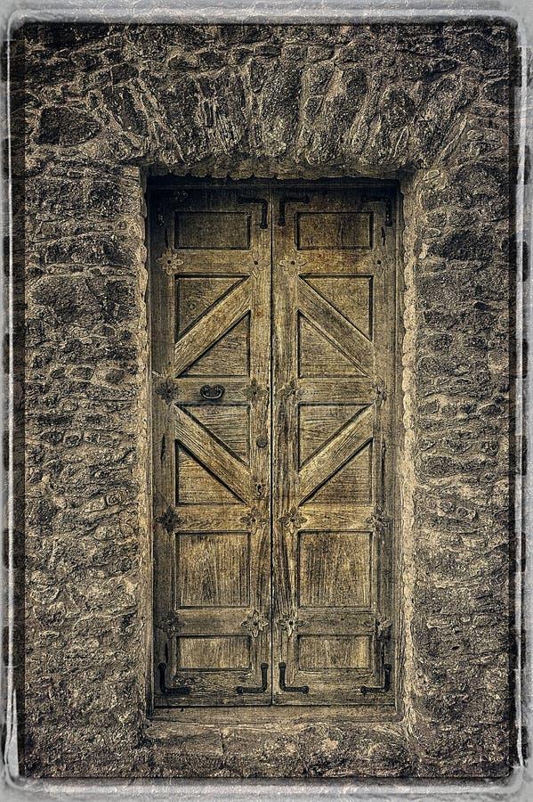Ancient Wooden Door at Presidio La Bahia stock photos