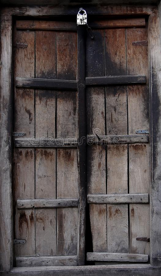 Ancient Wooden Door in Village royalty free stock photos