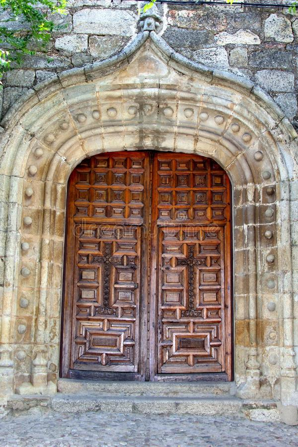 Very Old Wooden Doors In A Spanish Castle, Spain Stock ...