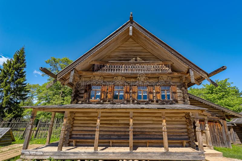 Ancient wooden log house. royalty free stock images
