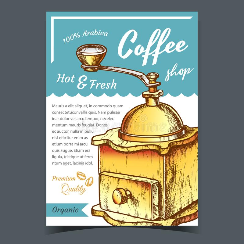 Ancient Wooden Manual Coffee Grinder Poster Vector stock illustration