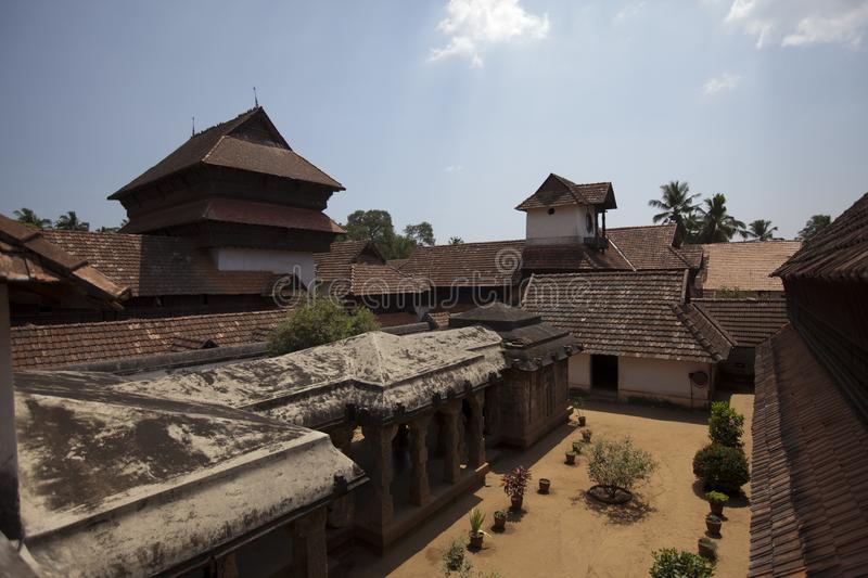 The ancient wooden palace Padmanabhapuram of the maharaja in Trivandrum, India.  stock photo