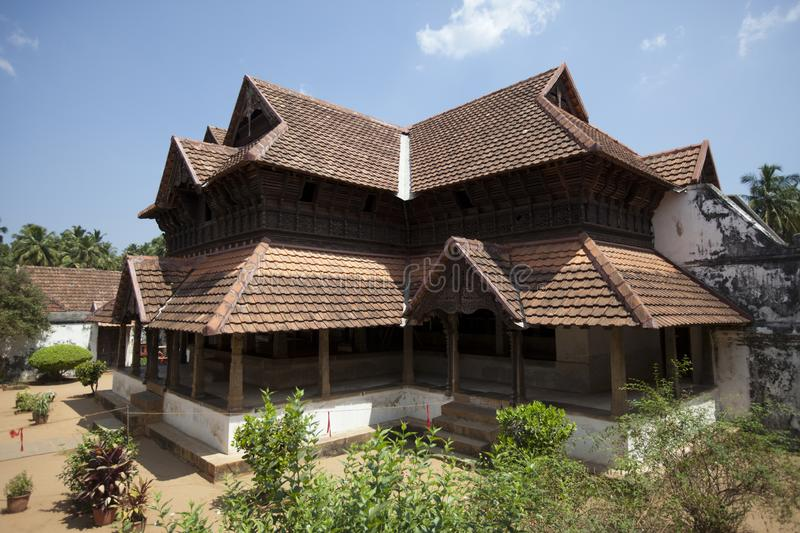 The ancient wooden palace Padmanabhapuram of the maharaja in Trivandrum, India.  stock photos