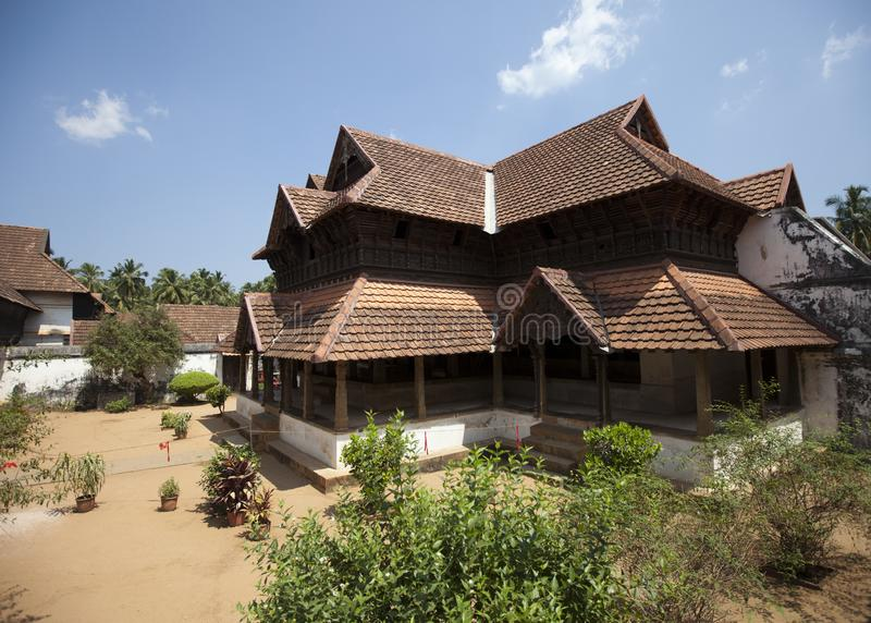 The ancient wooden palace Padmanabhapuram of the maharaja in Trivandrum, India.  royalty free stock photo