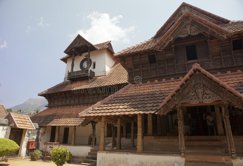 The ancient wooden palace Padmanabhapuram of the maharaja in Trivandrum, India.  stock images