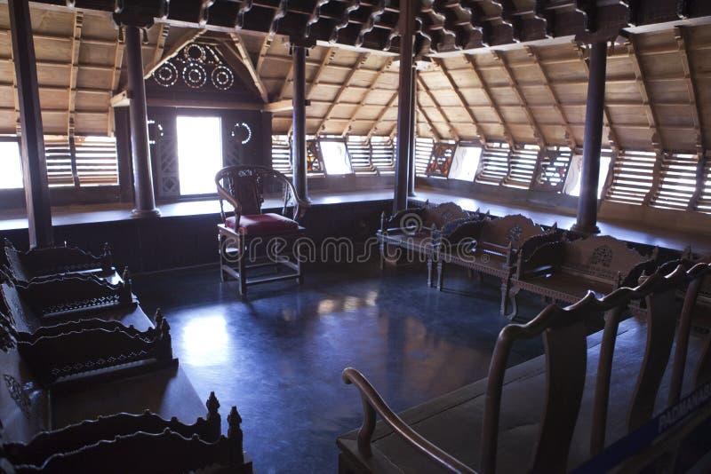 The ancient wooden palace Padmanabhapuram of the maharaja in Trivandrum, India.  stock photo