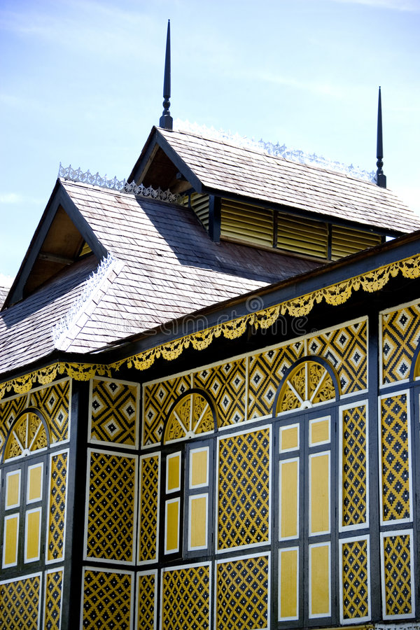 The Ancient Wooden Palace of the Sultan of Perak royalty free stock image