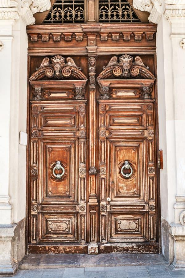 Wooden retro vintage door. Ancient wooden retro vintage door stock images
