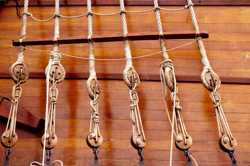 Download Ancient Wooden Sailboat Pulleys And Ropes Stock Photos - Image: 25407203