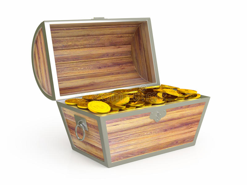 Ancient wooden treasure chest stock illustration