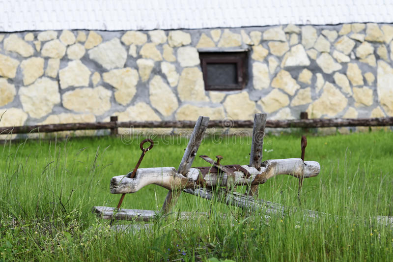The ancient wooden yoke on the garden stock photography