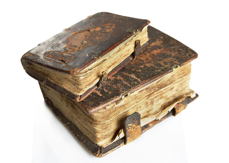 Ancient worn books with leather cover royalty free stock photography