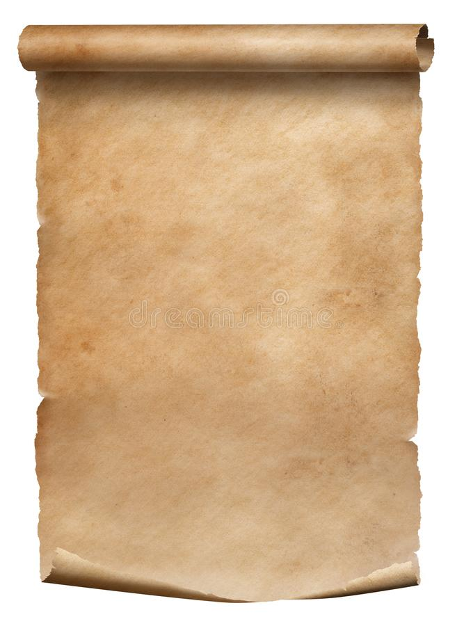 Old parchment diploma scroll isolated on white royalty free stock photography