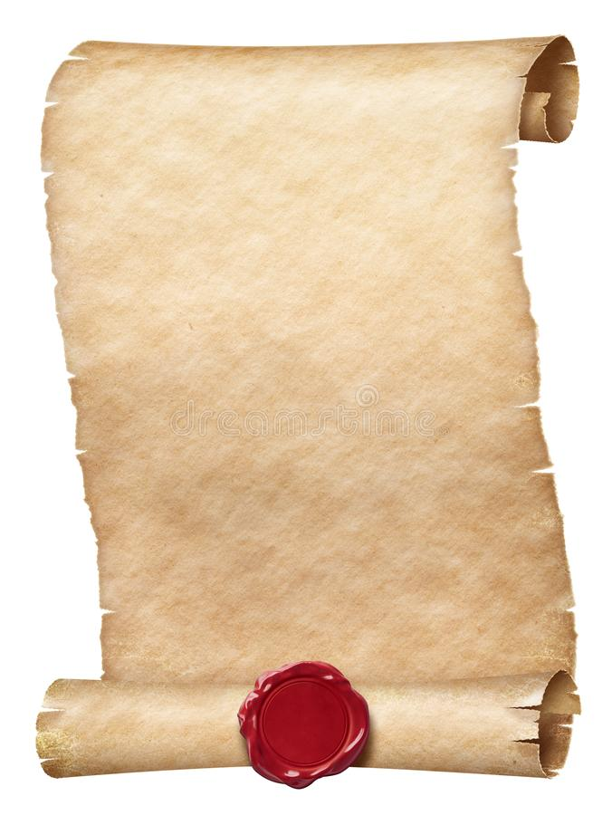 Ancient parchment scroll with wax seal isolated on white stock photo
