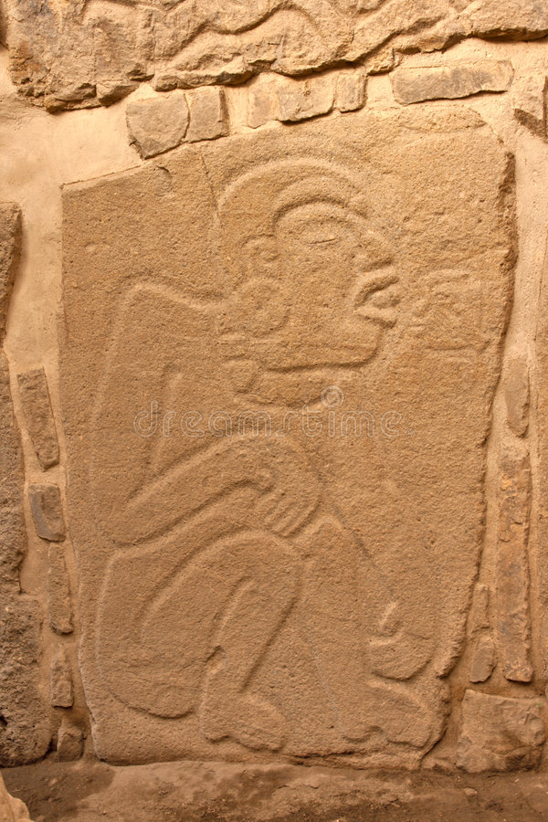 Ancient zapotec relief on the wall in Mexico stock photo