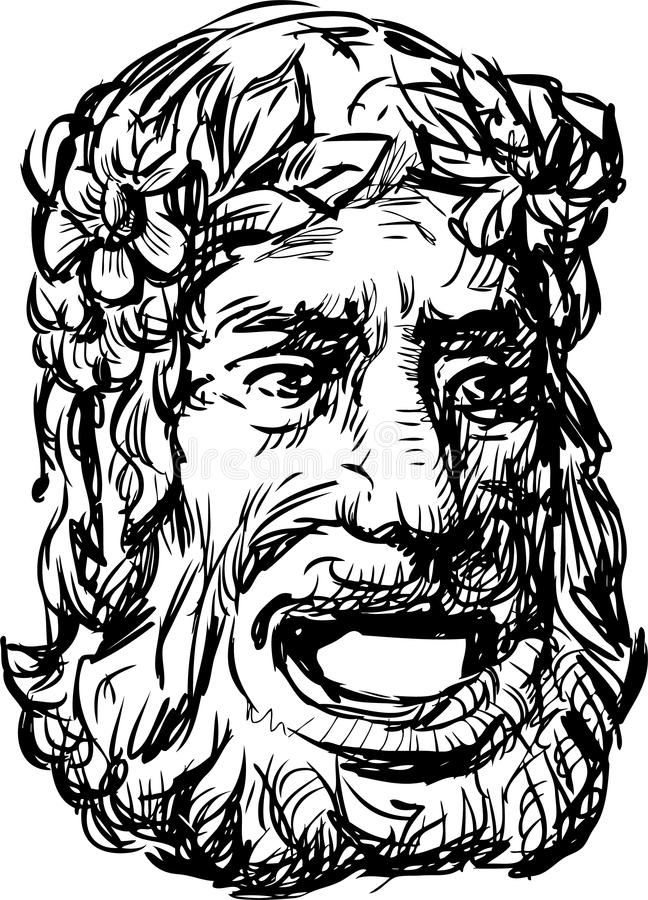 Ancientl drama mask royalty free illustration